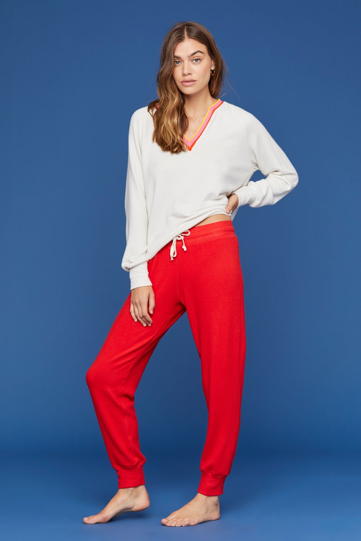LNA Brushed Jogger Sweatpant in Fiery Red