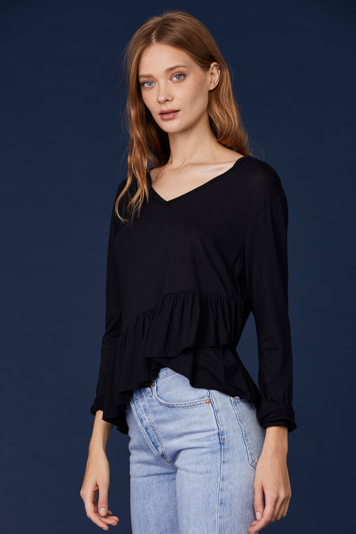 LNA Frankie Long Sleeve Ruffle Top in Black