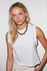 LNA White Sleeveless Garcon Tank