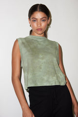 LNA Garcon Low Arm Hole Tank in Green Smoke