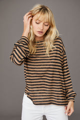 LNA Gathered Cuff Long Sleeve brown and black stripe top