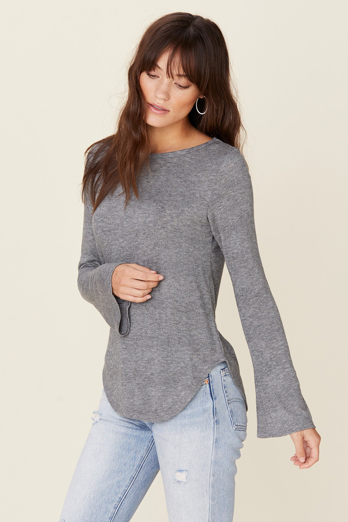 LNA Grey Bell Sleeve Top