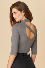 LNA Something About You Back Cutout Top in Grey