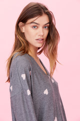 LNA Brushed Bitten Sweater in grey with pink hearts