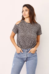 LNA Burnout Drive Tee in Heather Grey Leopard