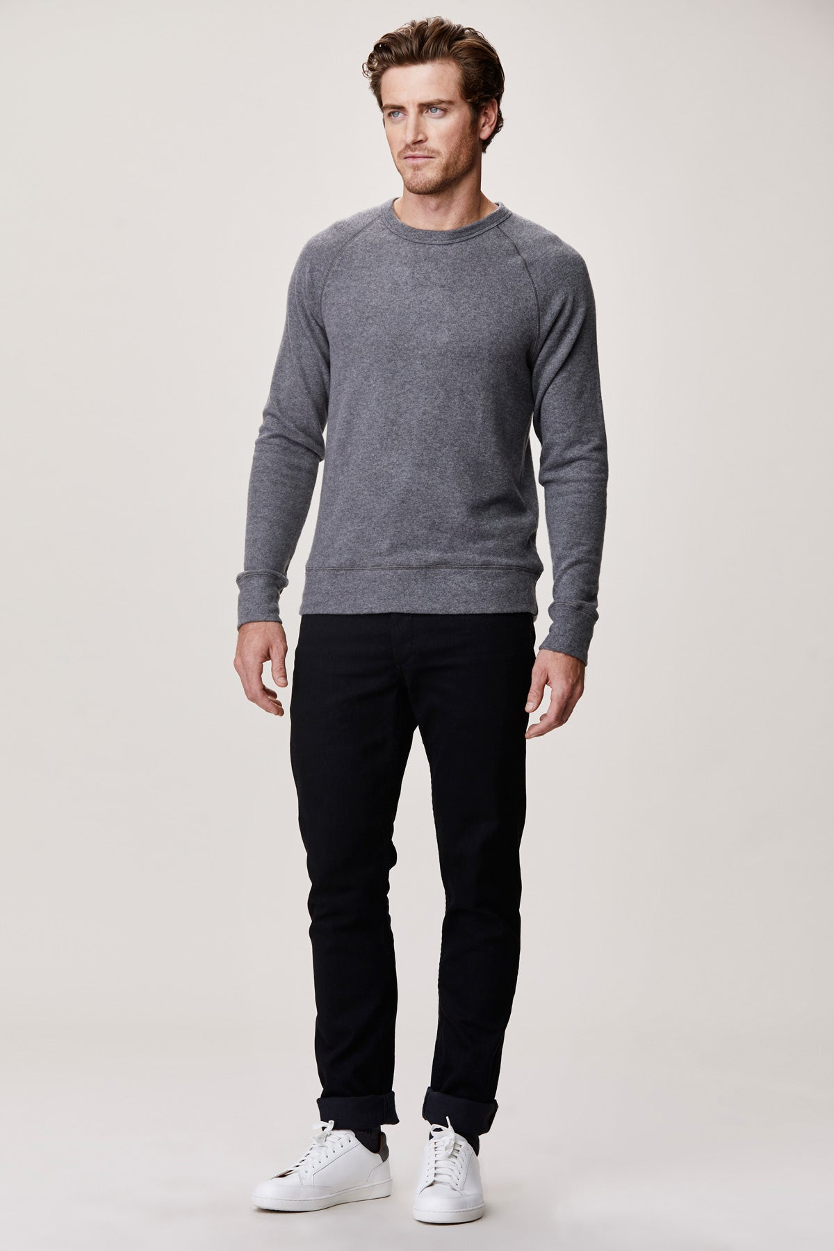 LNA Men's Brushed Hacci Raglan Pullover Sweater in Grey