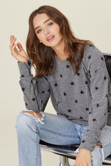 LNA Grey Pullover with Star Print