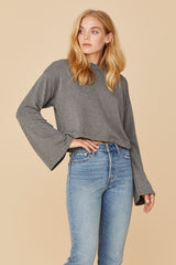 LNA Abby Crop Sweatshirt in Grey