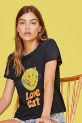 LNA Love Cat Graphic Tee in Faded Black