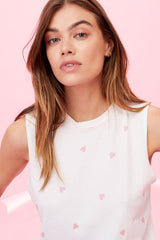 LNA Heart Print Muscle Tank with Pink Hearts