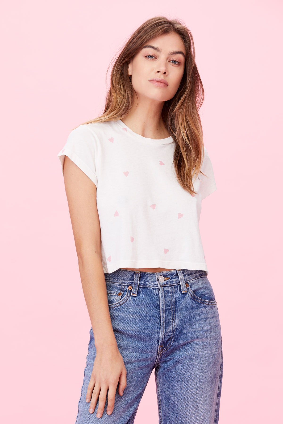 LNA Hearts Crew Cropped Tee - White with pink hearts