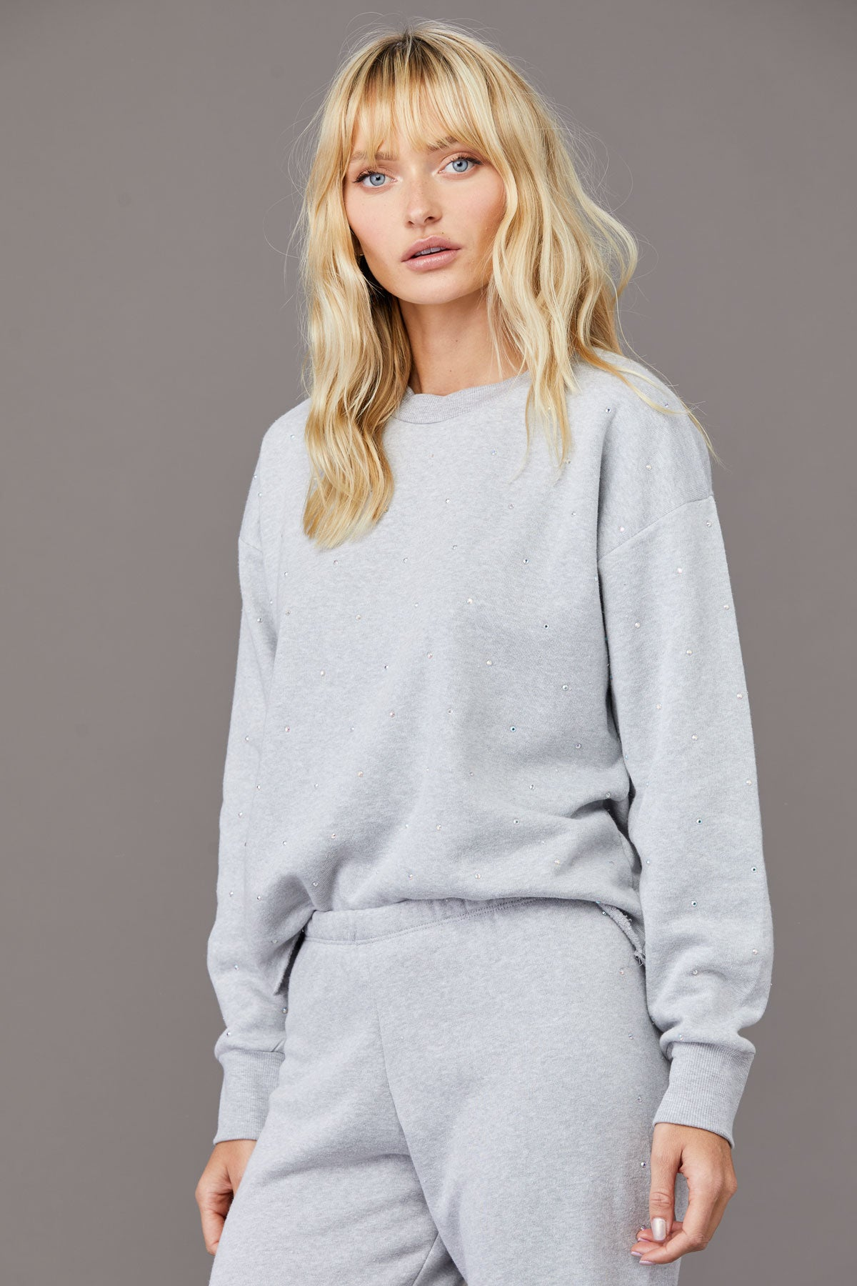 LNA Dancer Rhinestone Sweatshirt in grey
