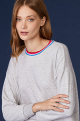 LNA Lore Sweatshirt in Heather Grey with Rainbow Trim