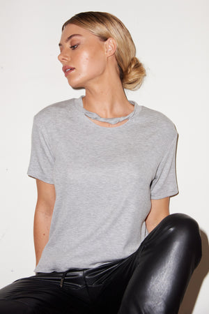 LNA Sophie Rib Cutout Tee in Heather Grey