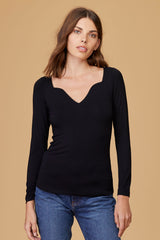 LNA Helena Top with sweetheart neckline in black