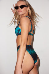 LNA Black and Green Tie Dye Sorrento High Waist Bikini Bottom