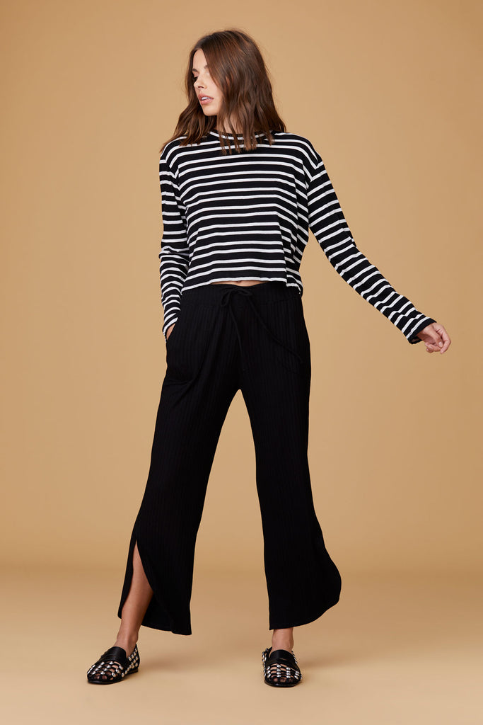 2e054465ee LNA Clothing – LNA Honey Stripe Long Sleeve Tee in Black & White Stripe