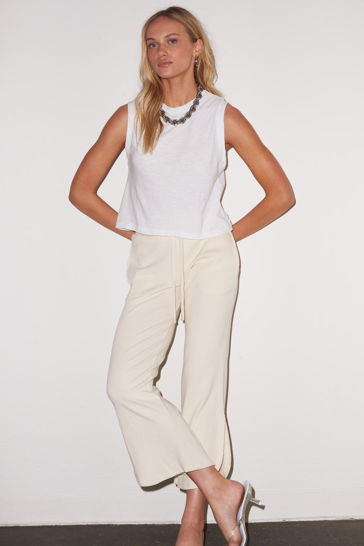 LNA Bianca Ribbed Sweat Pant in Ivory