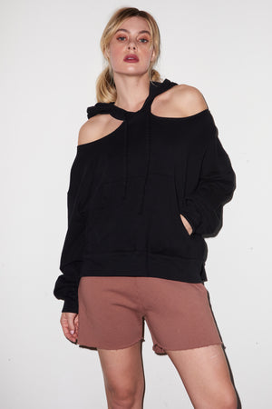 LNA Jag Shoulder Cutout Hoodie in Black