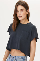 LNA J Raw Pocket Tee in Vintage Black
