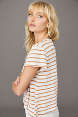 Karen Distressed Stripe Tee - Biscuit Stripe