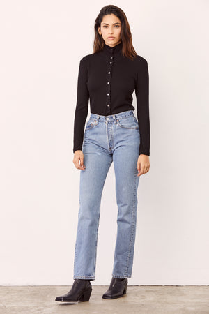 LNA Black Katherine Button Up Top