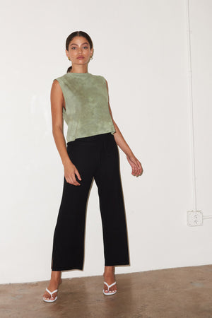 LNA Black Ribbed Kismet Pant