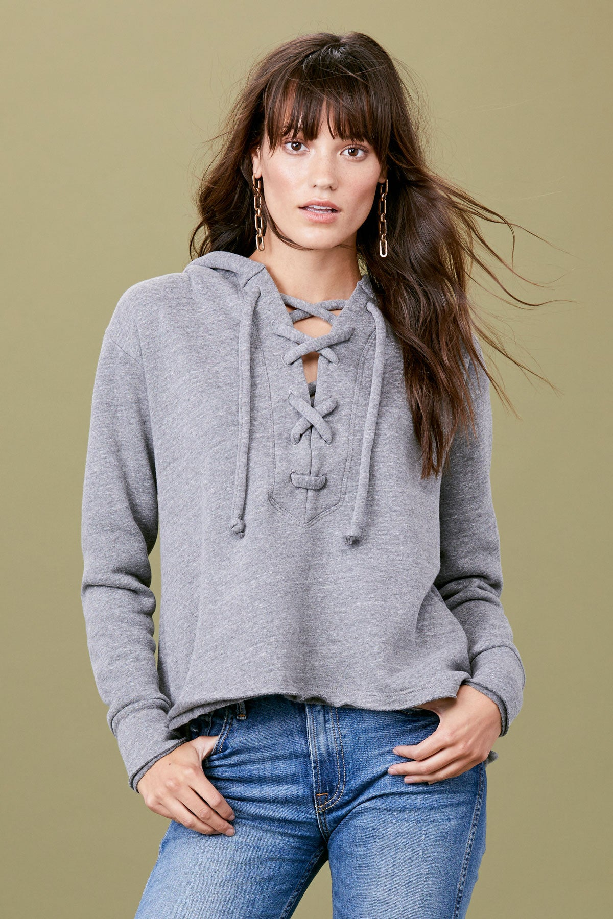 Lace Up Hoodie - Heather Grey