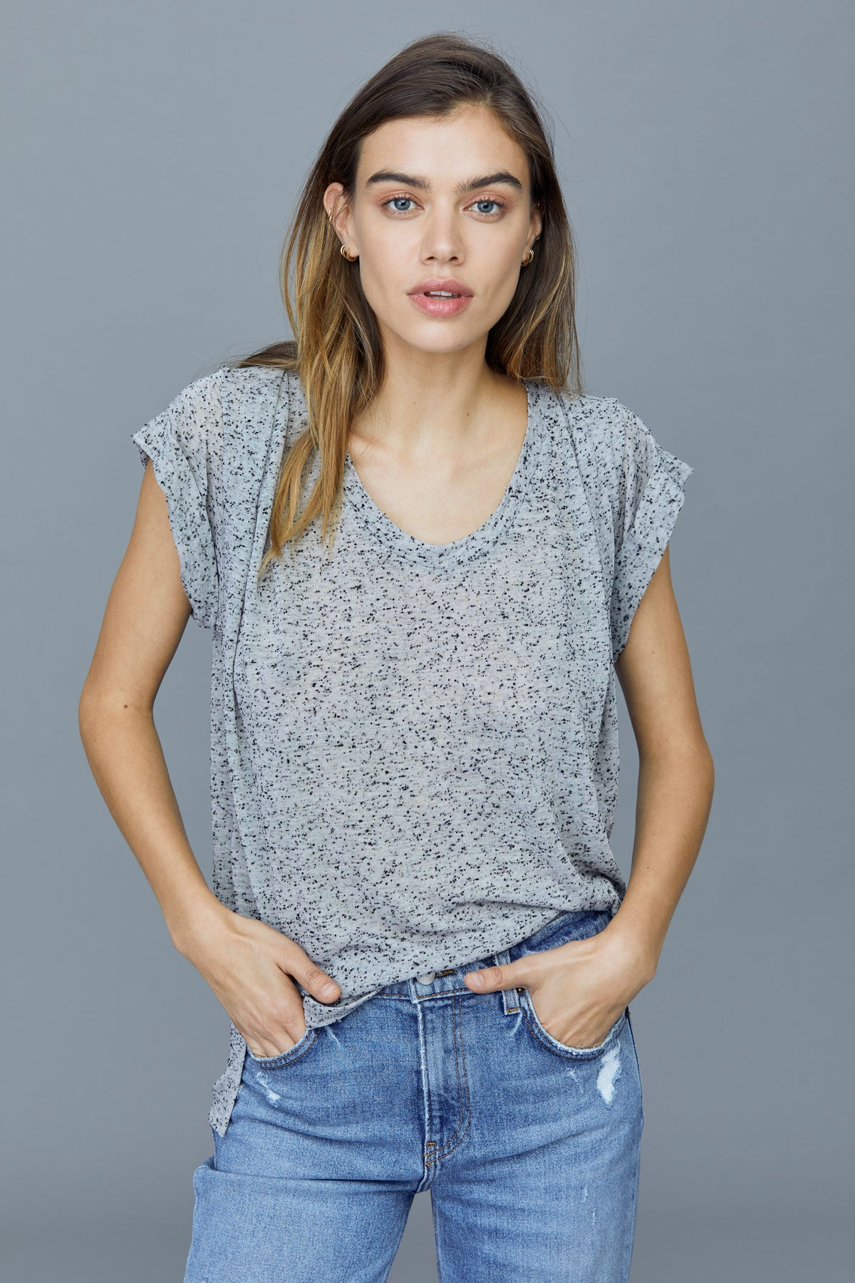 LNA Lakeside Tee with back cutout in grey