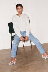 LNA Lennon Sweatshirt in Vapor Off White