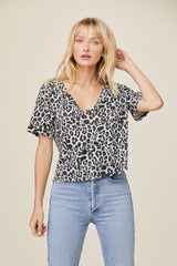 LNA Leopard Boxy V Neck Tee in black and white snow leopard