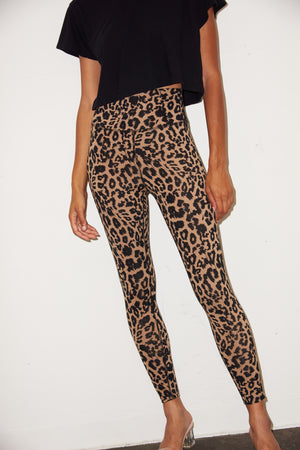 LNA High Waist Zipper Legging in Leopard Print