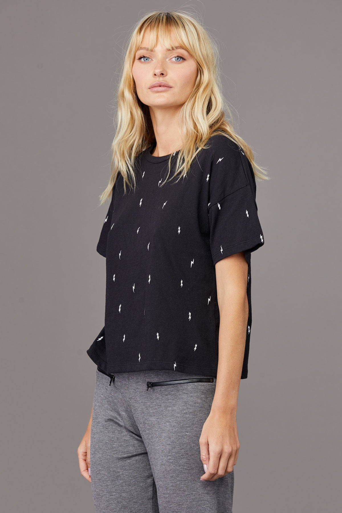 LNA Lightning Storm Boxy Crew in Lightning Bolt Print