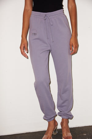 LNA Logo Sweat Pants in Lilac Stone Purple