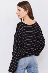 Lily Top - Black & Gold Silver Stripe