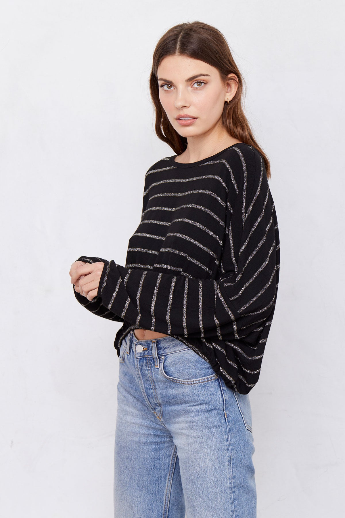 LNA Lily top with gold silver stripes