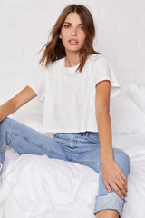 LNA Ava Cropped Tee in Lily White