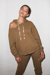 LNA Lion Hoodie with Shoulder Cutout in Olive Khaki