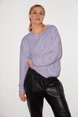 LNA Logo Crew Neck Sweatshirt in Lilac Stone purple