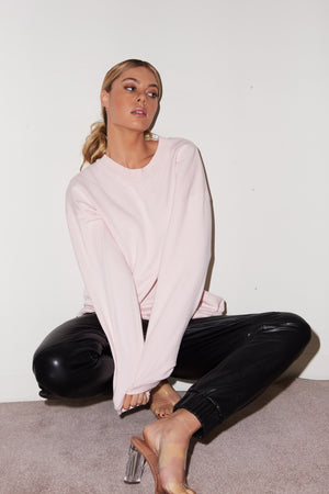 LNA Logo Crew Neck Sweatshirt in Blush Pink