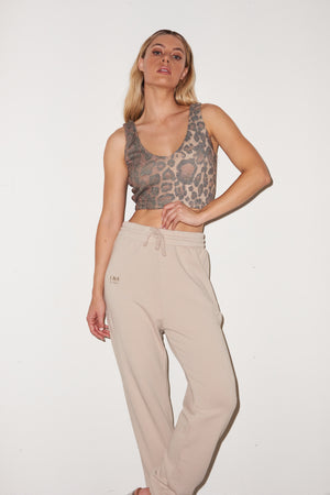 LNA Logo Sweatpants in Tan white pepper