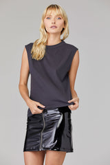 LNA Clothing Lola back cutout tank in grey stretch limo
