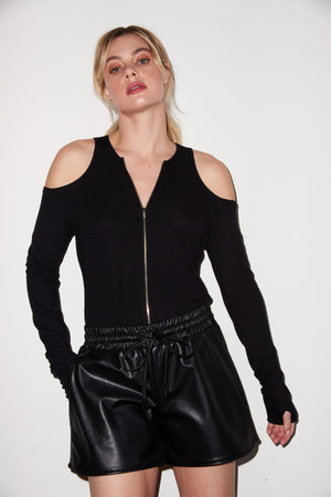 LNA Faux Leather Short in Black
