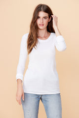 Long Sleeve Crew Neck - White