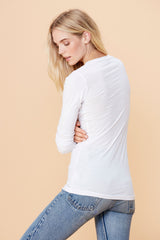 Long Sleeve Deep V - White