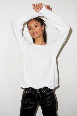 LNA Long Sleeve Distressed Tee in White