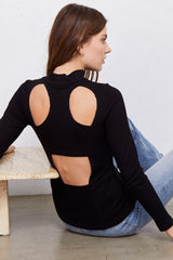 LNA Long Sleeve Element Top with back cutout detail
