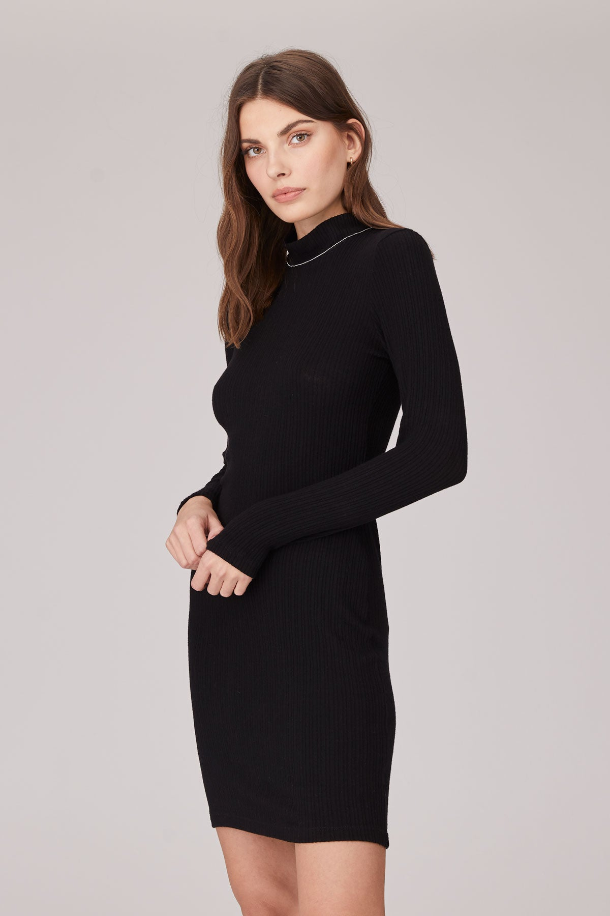 LNA Brushed Stacey Long Sleeve Rib Dress in Black