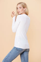 Long Sleeve V Neck - White