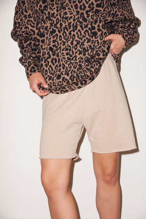 LNA long Terry Short in Tan White Pepper
